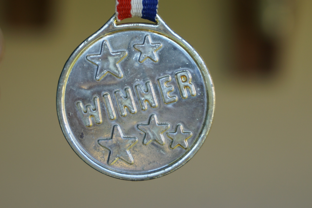 "Silver Medal Award that says ""WINNER"" with 5 stars on medal attached by a red, white and blue ribbon."