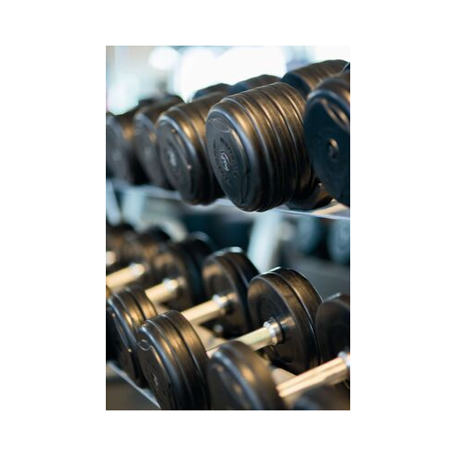 Multiple black dumbbells stacked in a exercise room