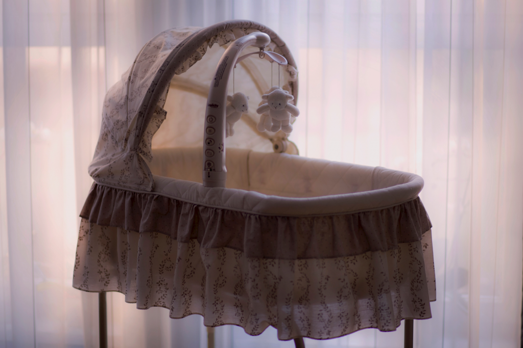 Bassinet with sunlight in background