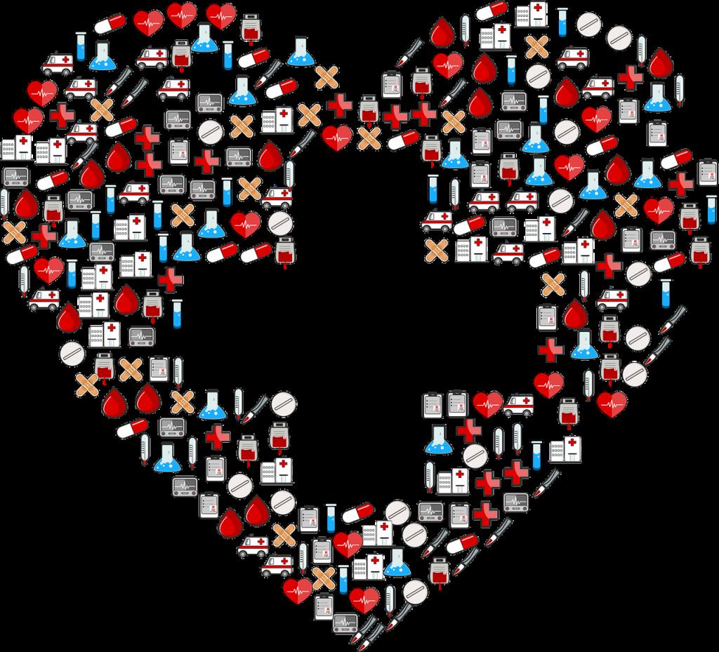 Heart and cross artwork for nursing career