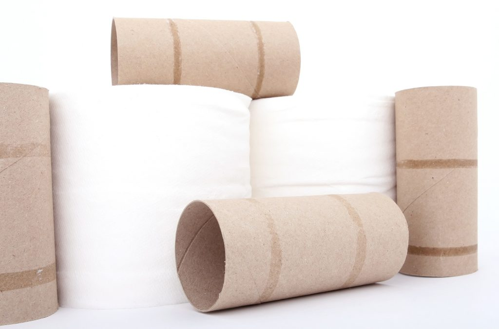 Two white toilet paper rolls with 4 empty brown toilet paper rolls arranged in a group set against a white background.