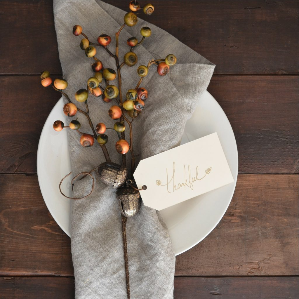 "Thanksgiving place setting tagged ""Thankful"""
