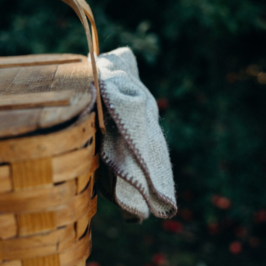 Close up brown basket with napkin