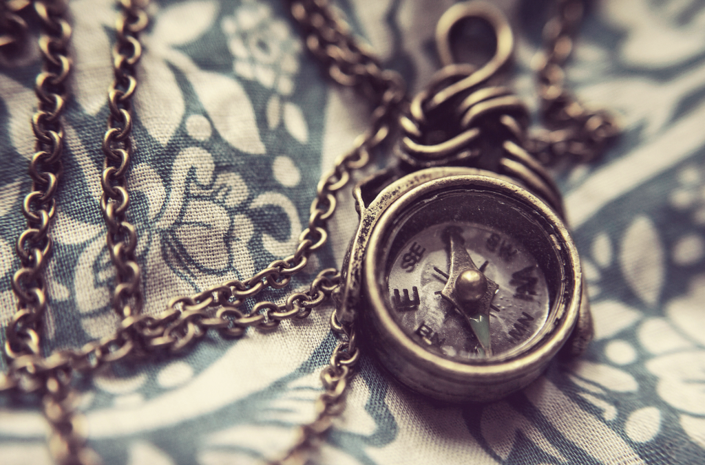 Close up image of necklace with compass