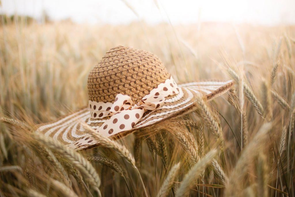 Straw hat in wheat field