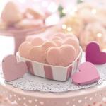 Pink valentine day heart cookies