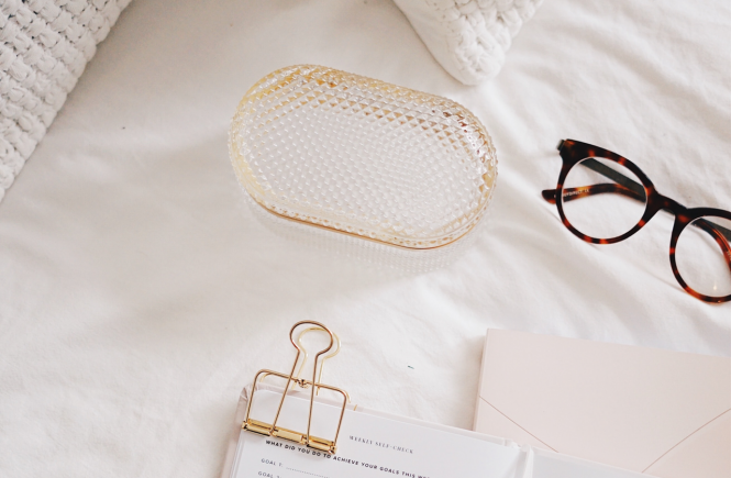 Organizer with gold clips and reading glasses