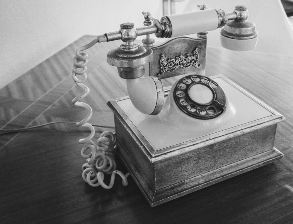 Antique phone, black and white