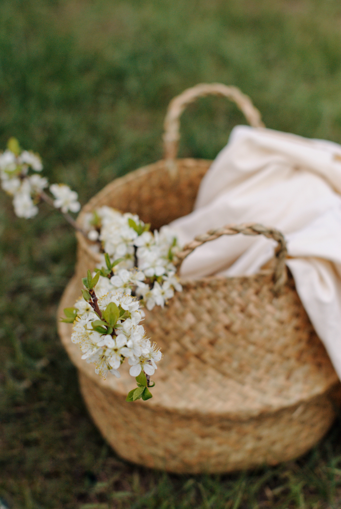 Basket with blanket and white flowers sitting on lawn